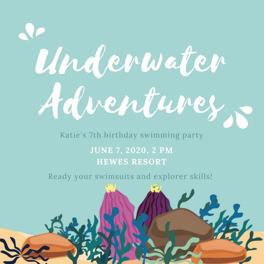 Under the Sea Invitation Templates Luxury Light Blue Illustrated Under the Sea Invitation