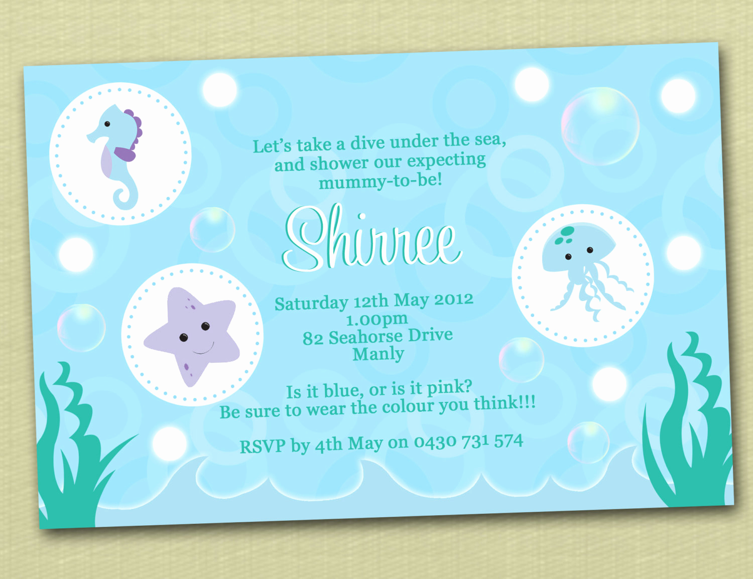 personalised under the sea baby shower