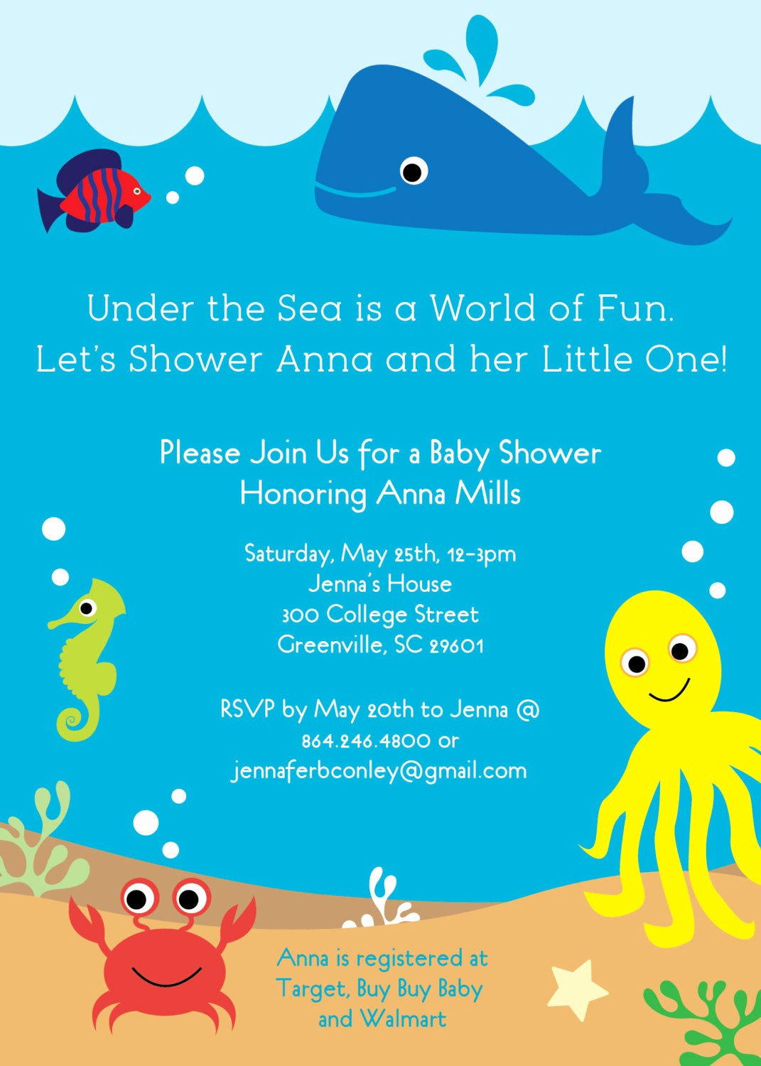 Under the Sea Invitation Templates Unique Under the Sea Baby Shower Invitation Creatures Boy Girl