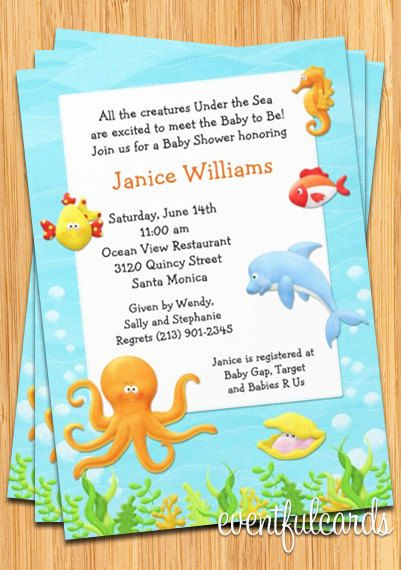 Under the Sea Invitation Wording Awesome Under the Sea Baby Shower Invitation