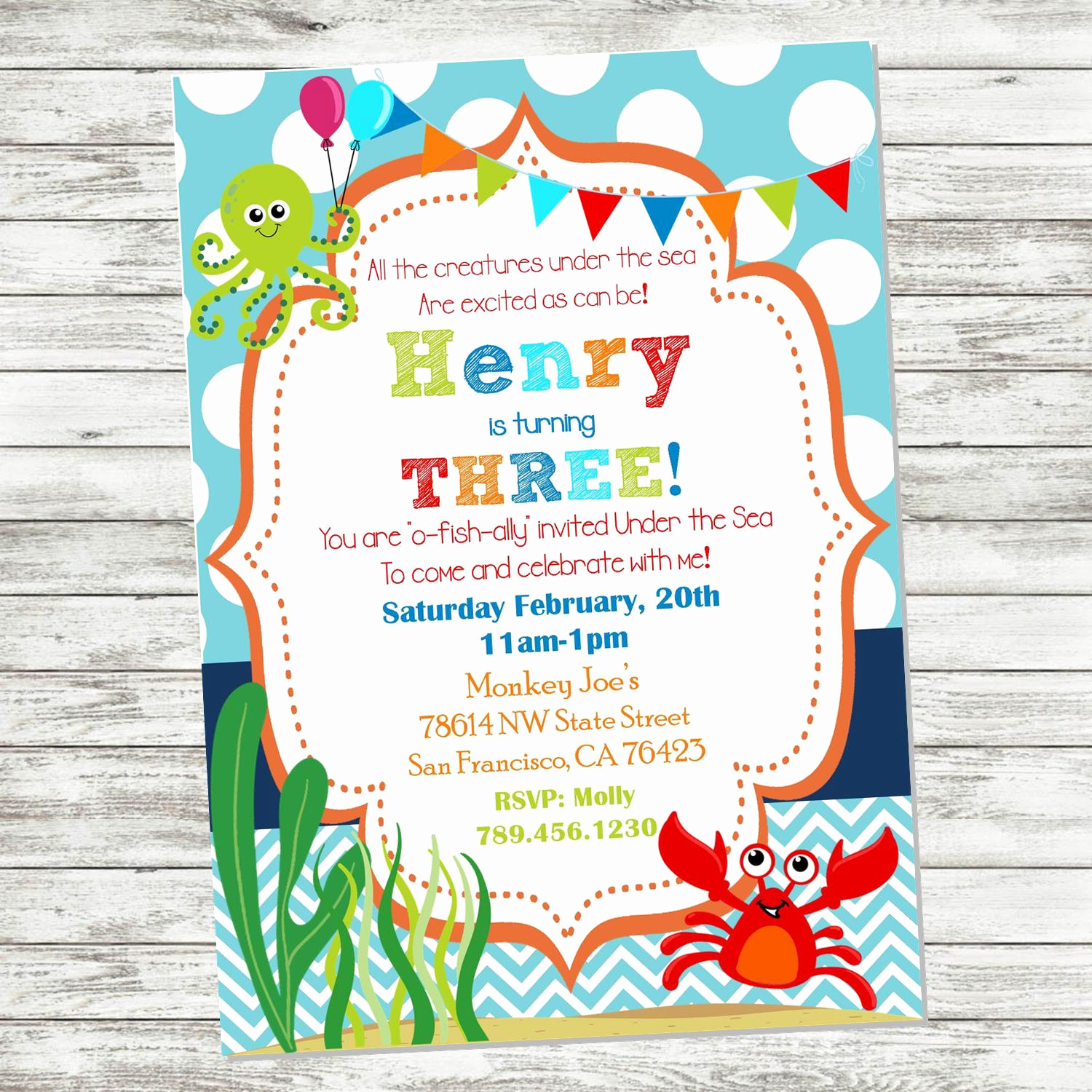 Under the Sea Invitation Wording Awesome Under the Sea Birthday Invitation Ocean by Picklesandposies