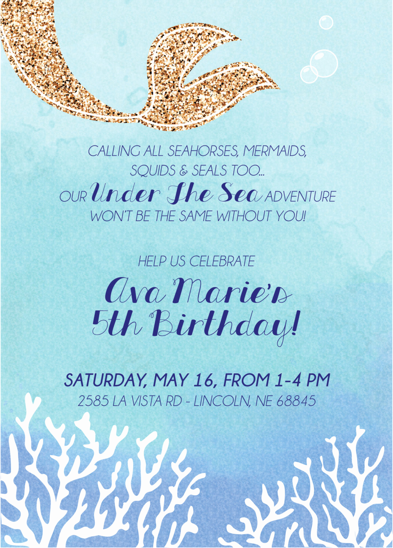Under the Sea Invitation Wording Awesome Under the Sea Invite Digital File
