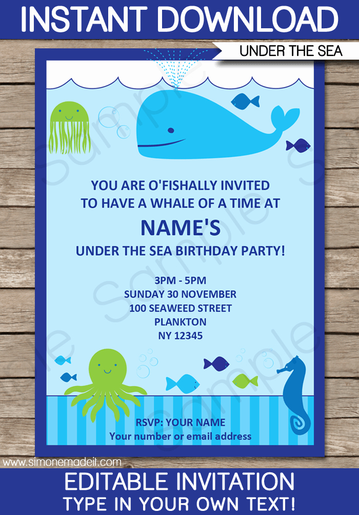 Under the Sea Invitation Wording Awesome Under the Sea Party Invitations