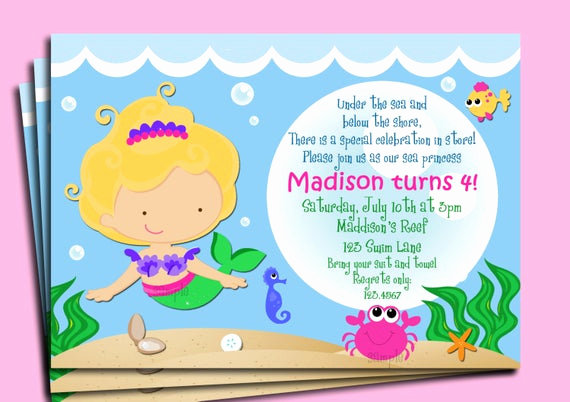 Under the Sea Invitation Wording Beautiful Mermaid Invitation Printable or Printed with Free Shipping