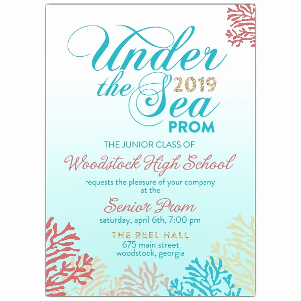 Under the Sea Invitation Wording Fresh Under the Sea High School Prom Invitations