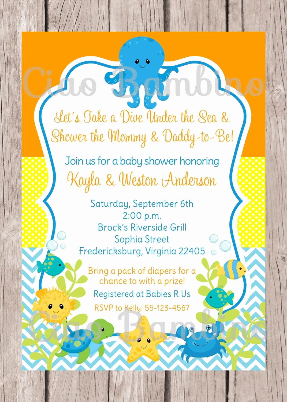 Under the Sea Invitation Wording Inspirational Printable Under the Sea Invitation for Baby Shower Gender