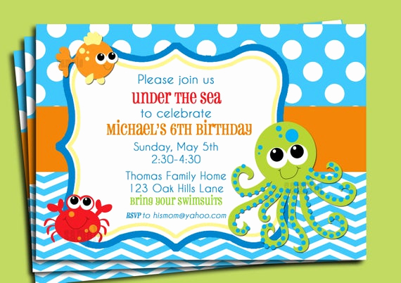 Under the Sea Invitation Wording Inspirational Under the Sea Invitation Printable or Printed by