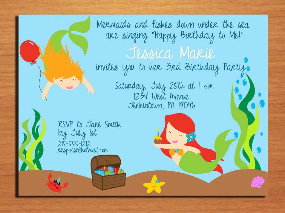 Under the Sea Invitation Wording Luxury Little Mermaid Under the Sea Birthday Party Invitation Cards