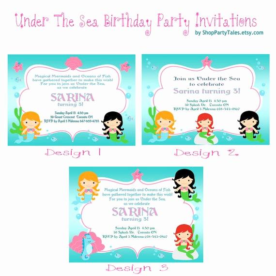 Under the Sea Invitation Wording Luxury Under the Sea Mermaid Invitations Printable Birthday Girl