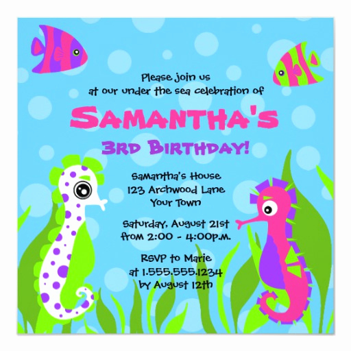 Under the Sea Invitation Wording Luxury Under the Sea Ocean themed Kids Birthday Party Invitation