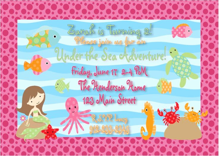Under the Sea Invitation Wording New Etsy Mermaid Under the Sea Girl Party Invitations
