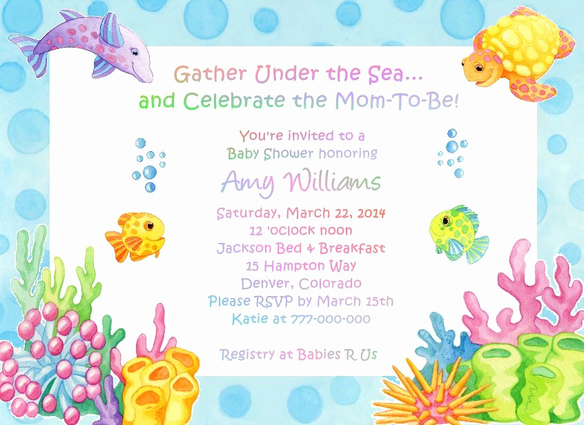 Under the Sea Invitation Wording New Under the Sea Adorable Baby Shower Invitations