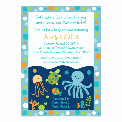"Under the Sea Invitation Wording New Under the Sea Baby Shower Invitations 4 5"" X 6 25"