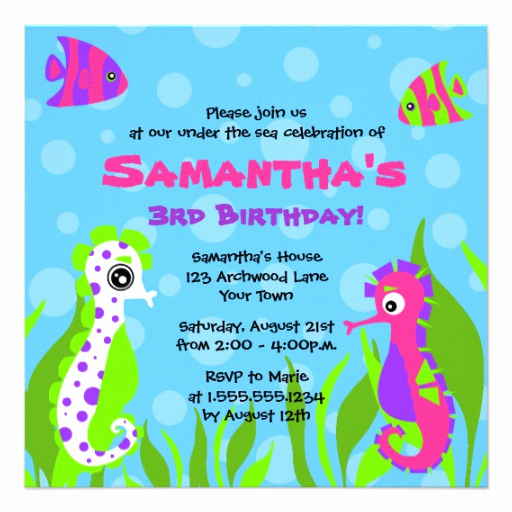 Under the Sea Invitation Wording New Under the Sea Ocean themed Kids Birthday Party 5 25x5 25