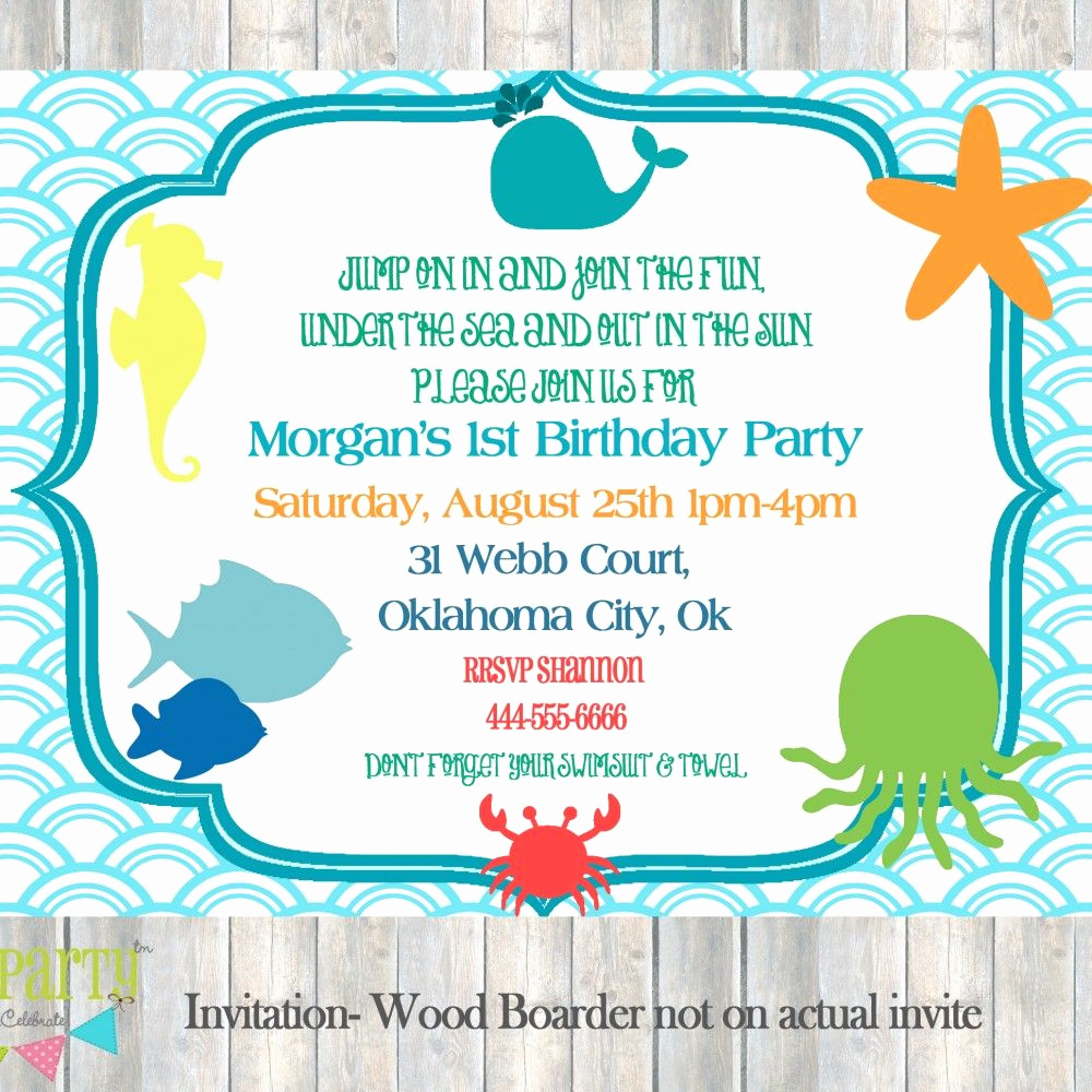Under the Sea Invitation Wording New Under the Sea themed Birthday Invitations Google Search