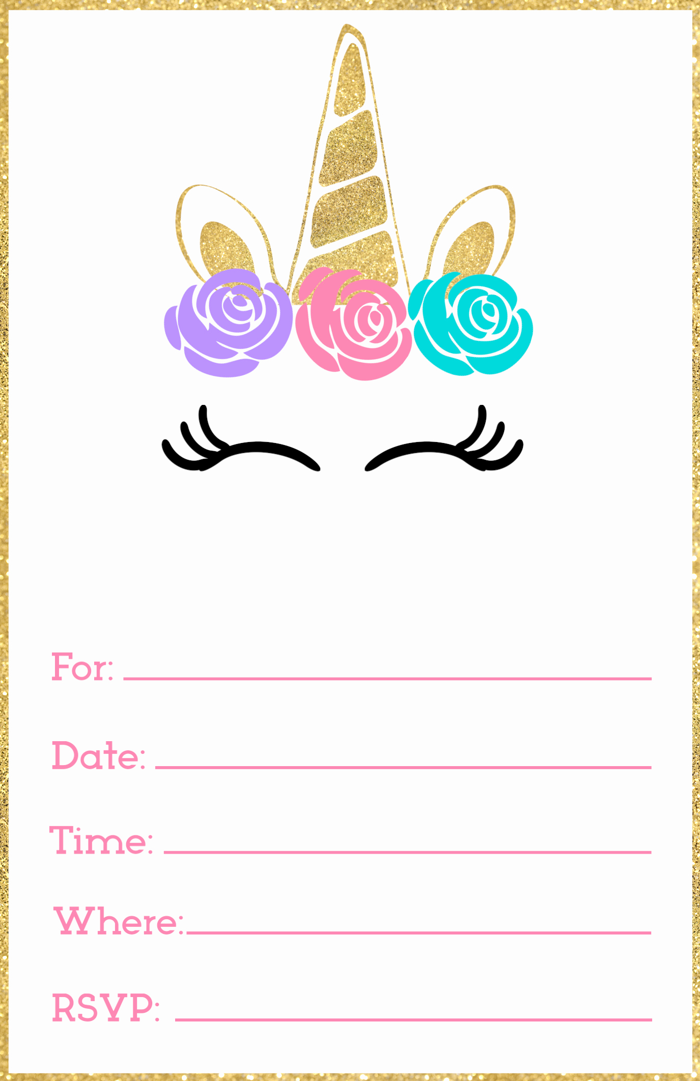 Unicorn Birthday Invitation Template Awesome Free Printable Unicorn Invitations Template Paper Trail