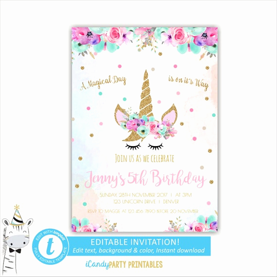Unicorn Birthday Invitation Template Best Of Unicorn Face Invitations Unicorn Birthday Invitation Unicorn