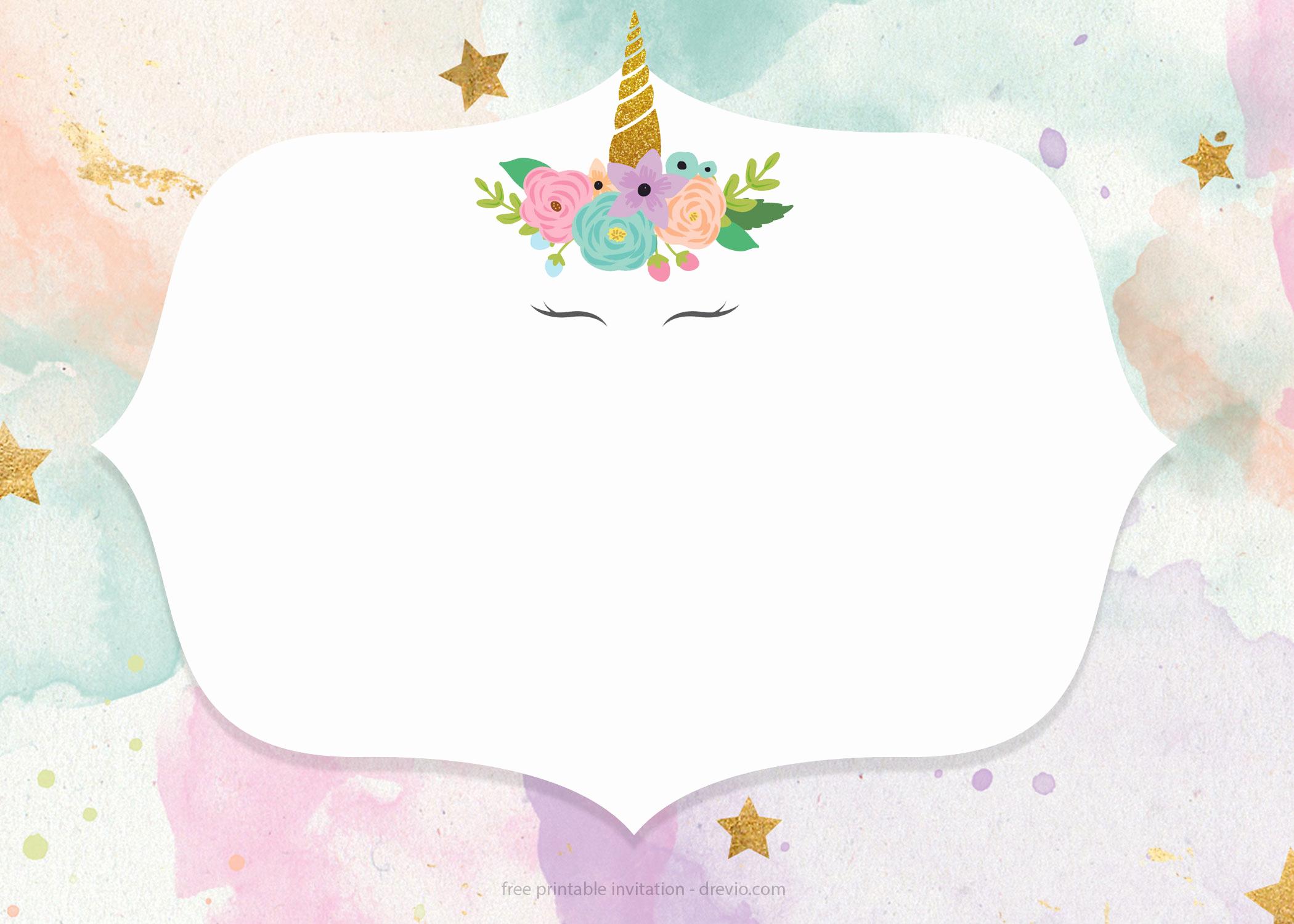 Unicorn Birthday Invitation Template Elegant Free Printable Golden Unicorn Birthday Invitation Template