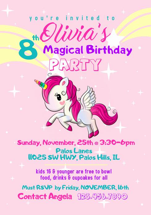 Unicorn Birthday Invitation Template Elegant Magical Unicorn Birthday Invitation Template