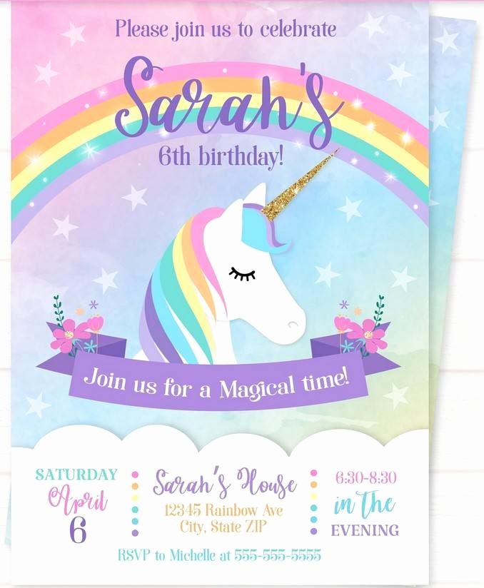 Unicorn Birthday Invitation Template Elegant Sweet Party with Rainbow Unicorn Invitation Template
