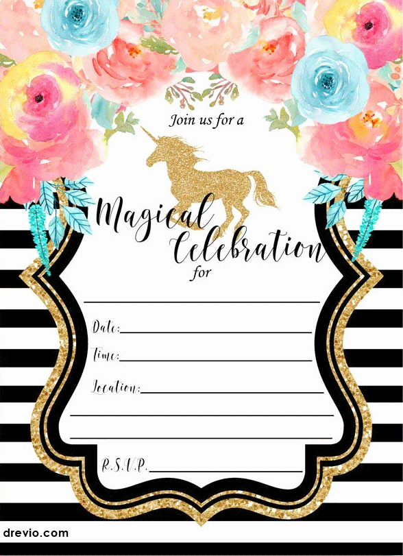 Unicorn Birthday Invitation Template Inspirational Free Printable Golden Unicorn Birthday Invitation Template