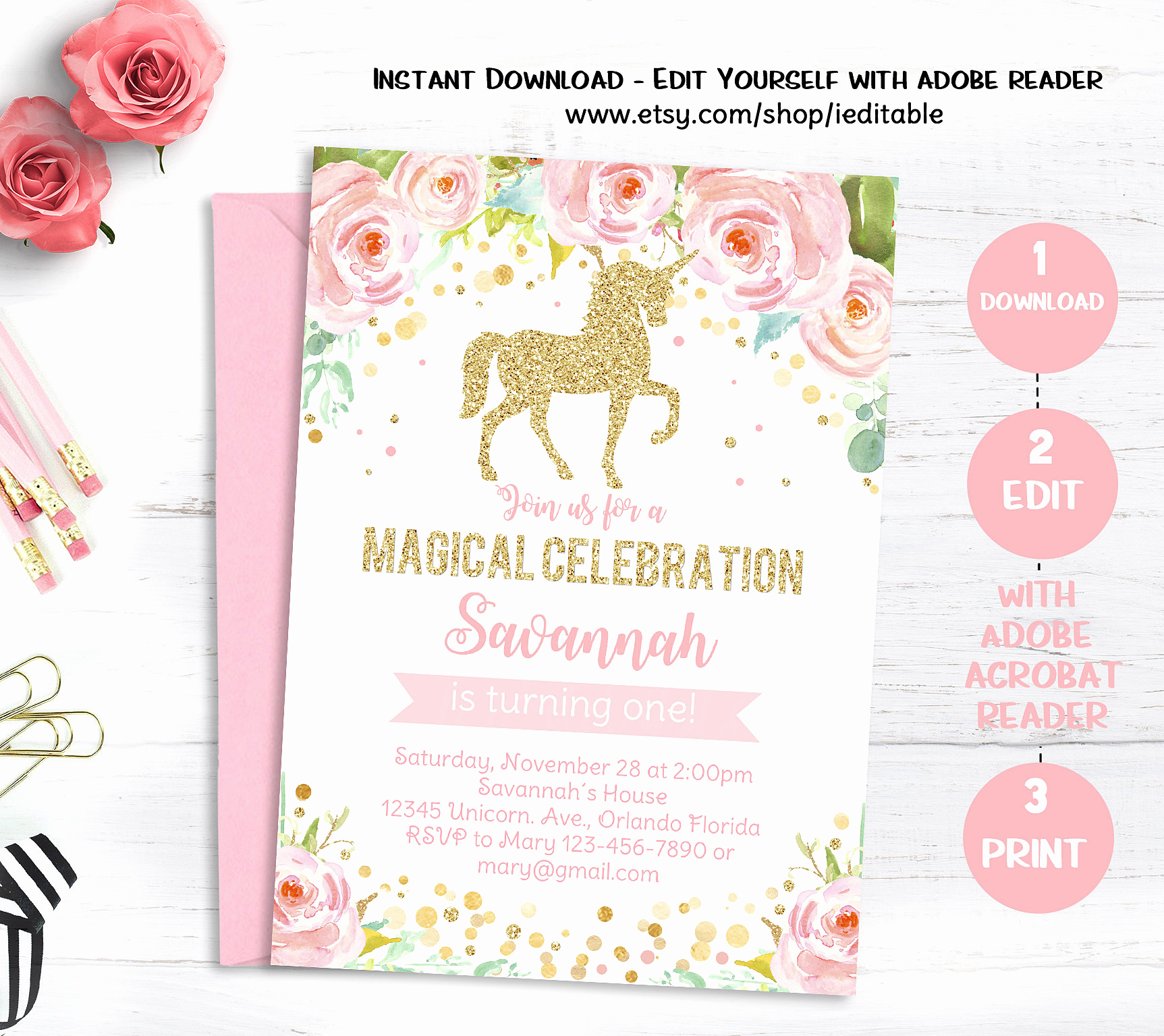 Unicorn Birthday Invitation Template Lovely Unicorn Birthday Invitation Magical Unicorn Invite Floral