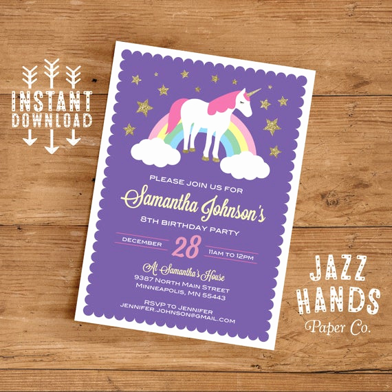 Unicorn Birthday Invitation Template Lovely Unicorn Birthday Invitation Template Diy Printable Unicorn
