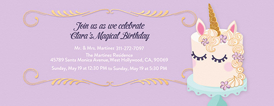 Unicorn Birthday Invitation Template New Free Birthday Invitations Send Line or by Text Evite