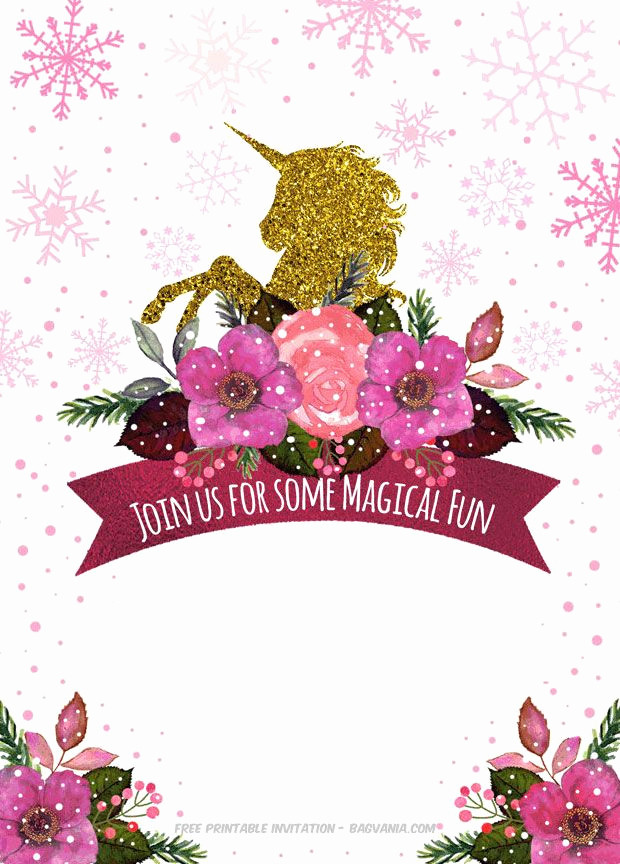 Unicorn Birthday Invitation Template New Free Printable Golden Unicorn Birthday Invitation Template