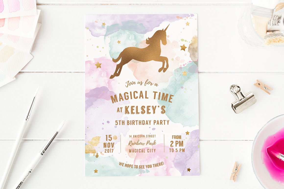 Unicorn Birthday Invitation Template New Unicorn Birthday Party Invite Invitation Templates