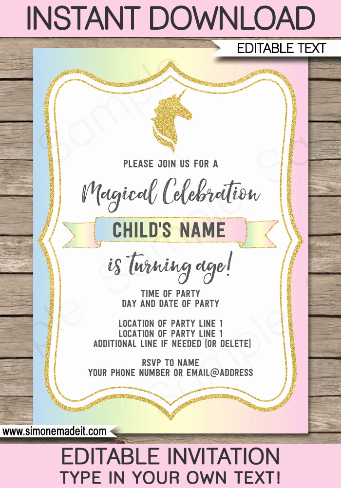 Unicorn Birthday Invitation Templates Awesome Unicorn Invitations Template