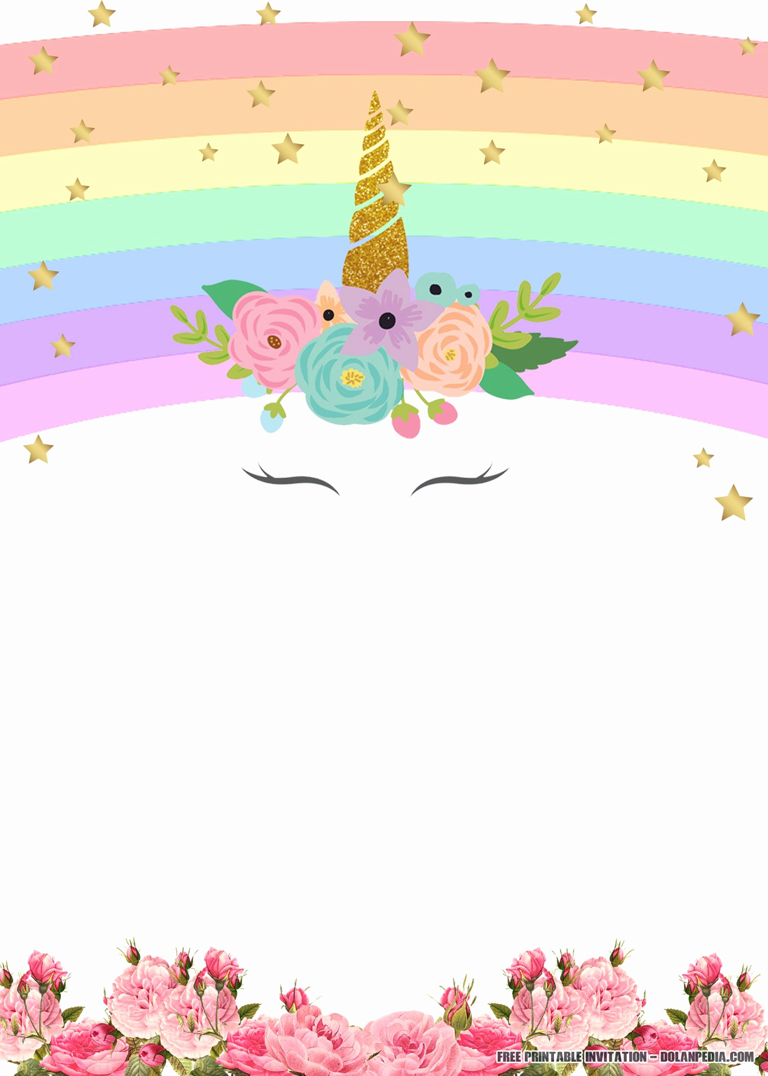 Unicorn Birthday Invitation Templates Beautiful Free Printable Unicorn Rainbow Invitation