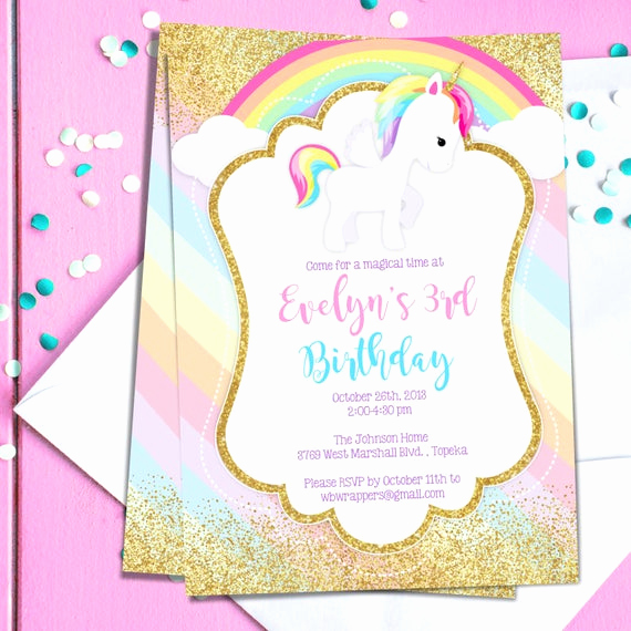 Unicorn Birthday Invitation Templates Best Of Unicorn Birthday Party Invitation Template Pastel Rainbow