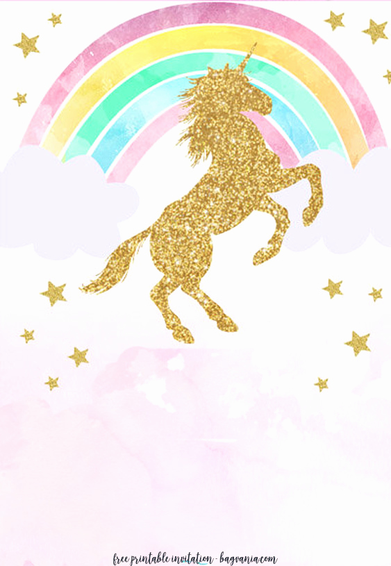 Unicorn Birthday Invitation Templates Elegant Free Printable Golden Unicorn Birthday Invitation Template