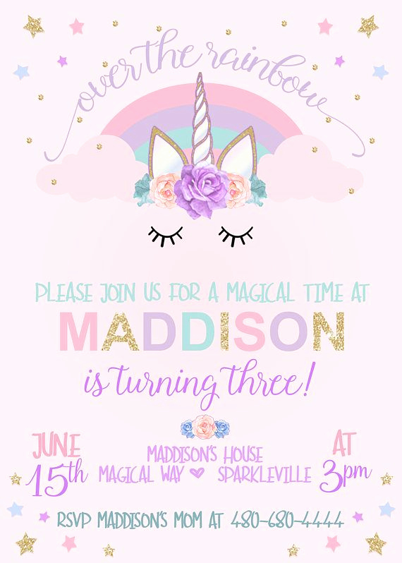 Unicorn Birthday Invitation Templates Elegant Unicorn Birthday Invitation Unicorn Party Invitation
