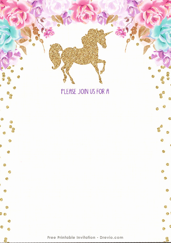 Unicorn Birthday Invitation Templates Fresh Free Printable Golden Unicorn Birthday Invitation Template