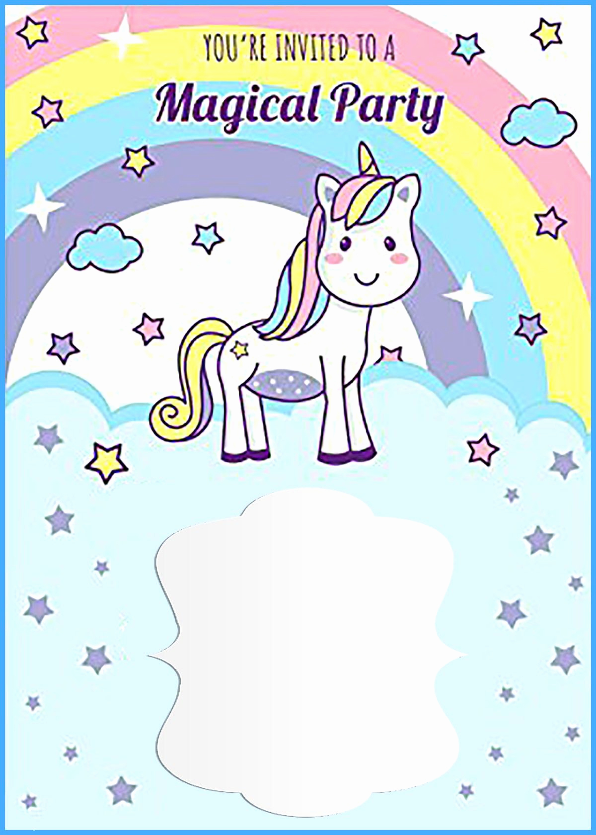 Unicorn Birthday Invitation Templates Inspirational Unicorn Free Printable First Birthday Invitation Template