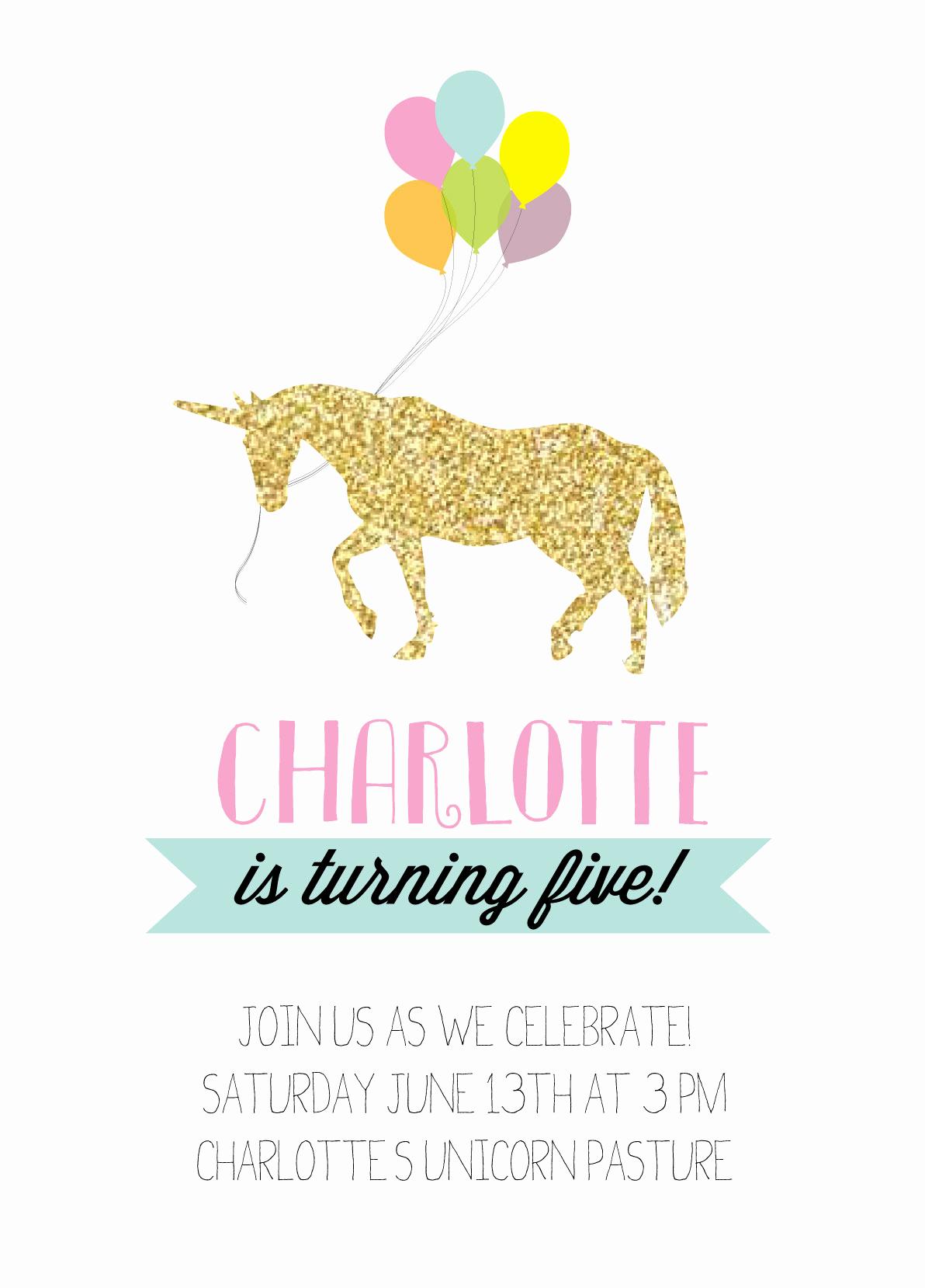 Unicorn Invitation Template Free Beautiful Unicorn and Rainbow Birthday Party