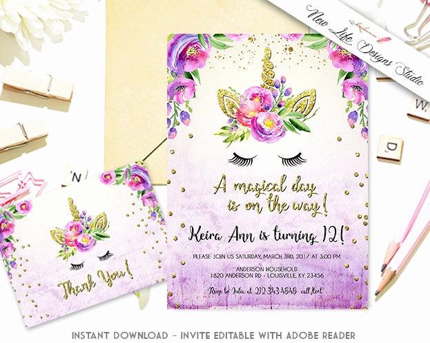 Unicorn Invitation Template Free Best Of Unicorn Birthday Party Invitation Template Floral Unicorn