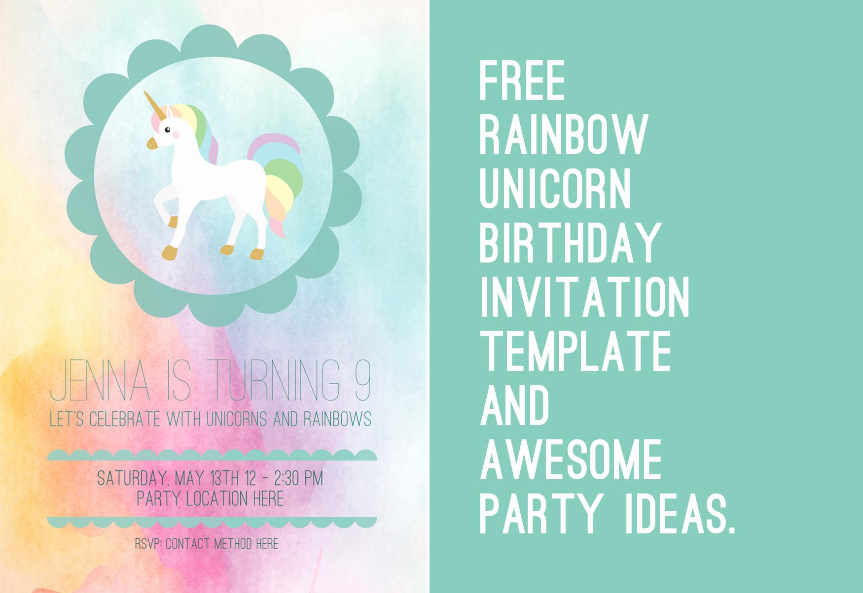 Unicorn Invitation Template Free Inspirational A Unicorn and Rainbow Birthday