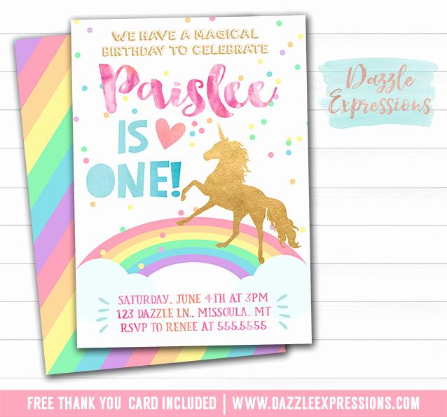 Unicorn Invitation Template Free Unique Printable Rainbow Unicorn Birthday Invitation Watercolor