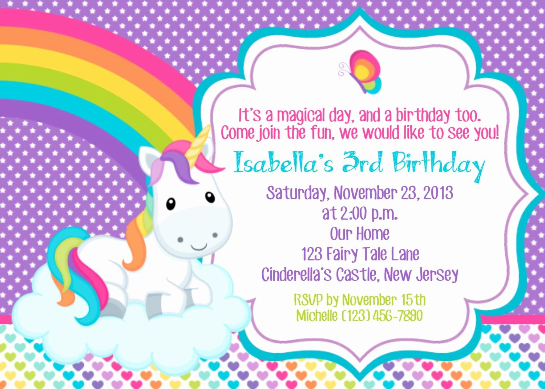 Unicorn Invitation Template Free Unique Rainbow and Unicorn Party Invitation