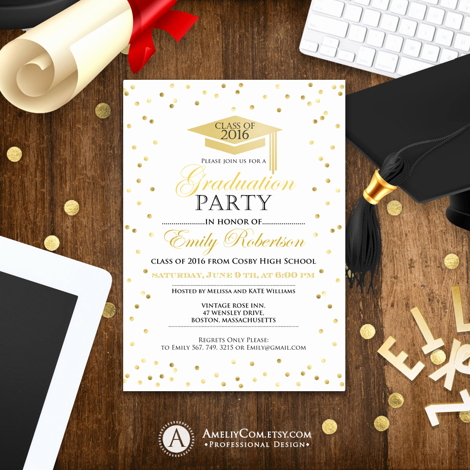 University Graduation Invitation Templates Lovely Graduation Invitation Template Printable Gold Confetti Girl