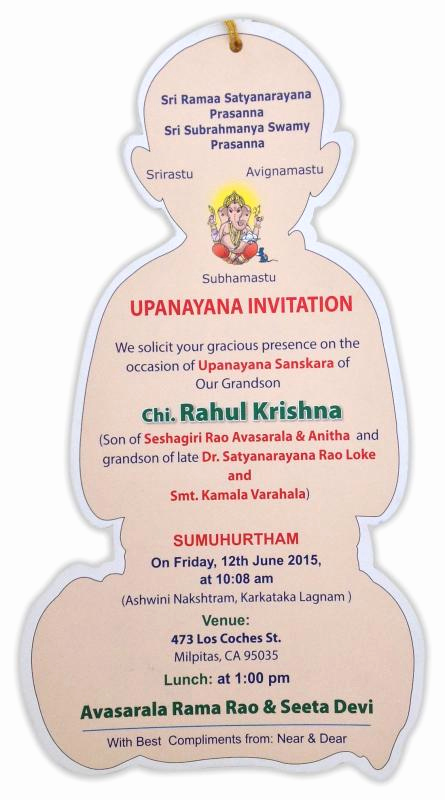 Upanayanam Invitation Card Sample Elegant Upanayanam Invitation Wordings English Ourclipart