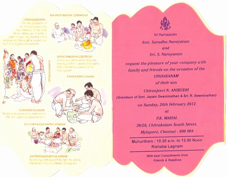 Upanayanam Invitation Card Sample Fresh A Connoisseur Writes Anirudh Upanayanam Invitation