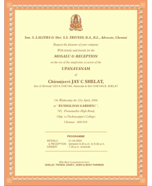 Upanayanam Invitation Card Sample Lovely J 3 north Indian Upanayanam Invitation Cards