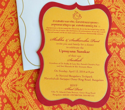 Upanayanam Invitation Card Sample Luxury Sacred Thread Ceremony Invitation Card