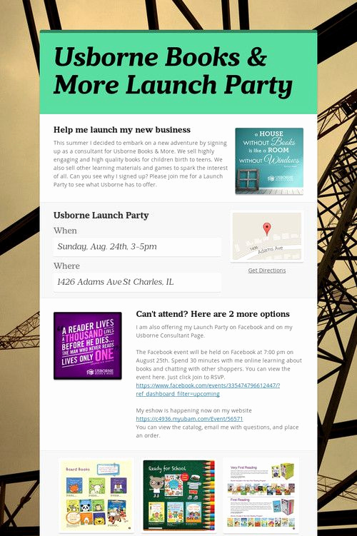 Usborne Book Party Invitation Beautiful Usborne Books & More Launch Party