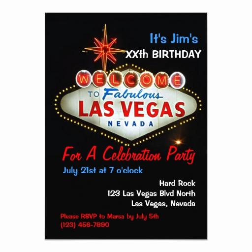 Vegas themed Invitation Templates Beautiful Birthday Party Las Vegas Party Invitations