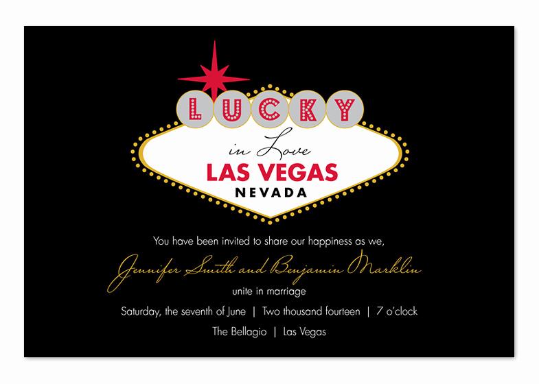 Vegas themed Invitation Templates Beautiful Lucky In Las Vegas Wedding Invitations by Invitation
